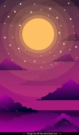 night sky background stars moon cloud sketch