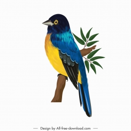 nightingale bird icon perching sketch colorful decor