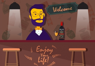 nightlife banner bartender bar icons colored cartoon design