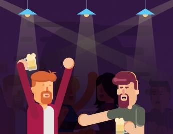 nightlife painting people cheering bar icons colored cartoon