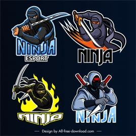ninja icons fighting gesture dynamic design