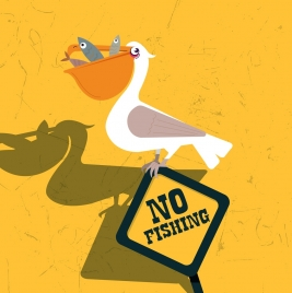 no fishing banner funny design bird signboard icons
