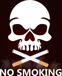 no smoking background cigarettes horror skull icons