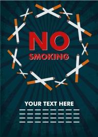 no smoking banner cigarettes icons cross symbols