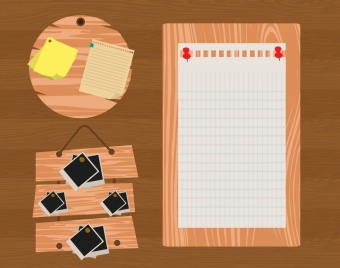 note paper icons isolation wooden wall surface decor