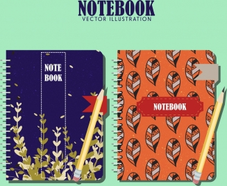 notebook cover templates leaves theme classical design
