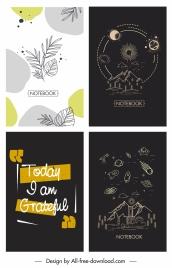 notebook cover templates retro black white decor