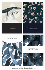notebook cover templates whale flower leaves decor