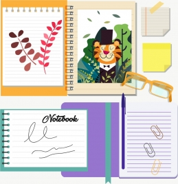 notebook design elements drawing strokes decoration