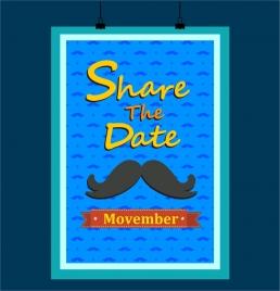 november mustache poster in blue design