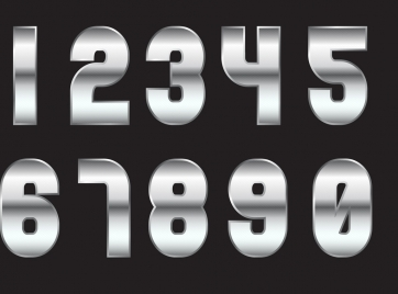 numbering background shiny grey metal icons