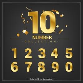 numbers background dynamic confetties luxury golden decor