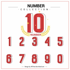 numbers background template classic flat handdrawn sketch