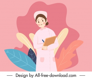 nursing work painting woman sketch cartoon design