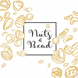 nuts beads background colored hand drawn outline