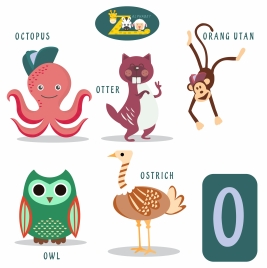 o letter education design with cute animals