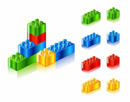 Object plastic blocks vector art