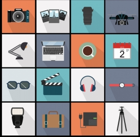 objects icons collection colored squares isolation