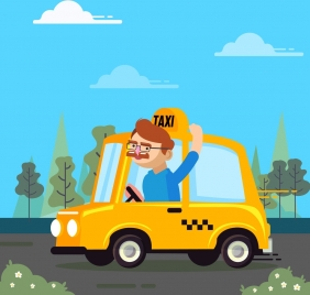 occupation background taxi car driver icons cartoon design