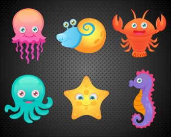 ocean animal icons collection with color illustration