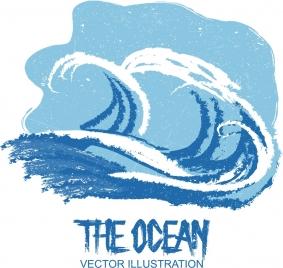 ocean background blue white retro handdrawn waves sketch