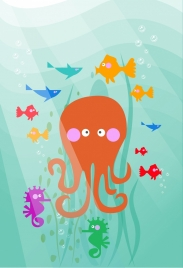 ocean background fish octopus seahorse icons colored cartoon