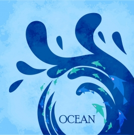 ocean background splashing blue wave fish decoration