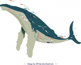 ocean background swimming whale icon cartoon sketch