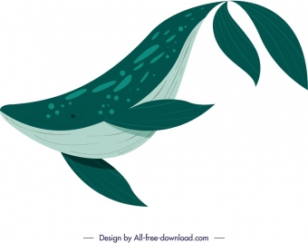 ocean creature background whale icon green design