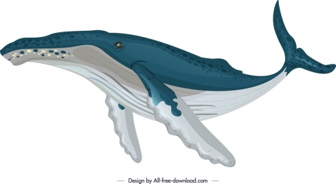 ocean design element whale icon colored sketch