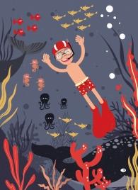 ocean drawing joyful snorkeling boy marine creatures