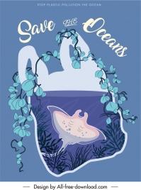 ocean save banner marine elements nylon bag sketch