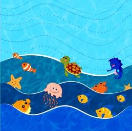 ocean world background various animals icons stylized cartoon