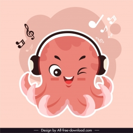 octopus icon music listening sketch cute stylized cartoon