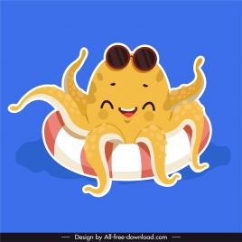 octopus icons funny stylized cartoon character sketch