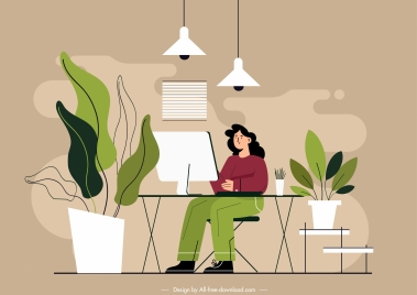 office background classic handdrawn cartoon sketch