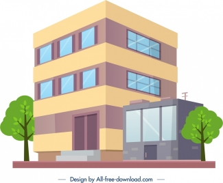 office building architecture icon colored modern 3d sketch