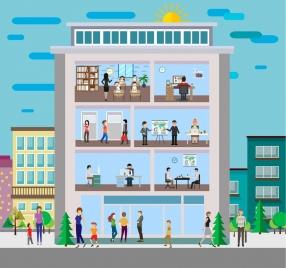 office building facade layout colored carton design