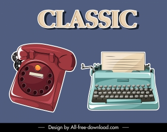 office devices icons retro telephone typewriter sketch