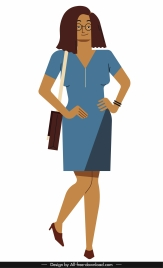 office lady icon colored cartoon character