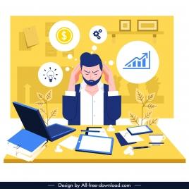 office stress background headache staff work icons sketch