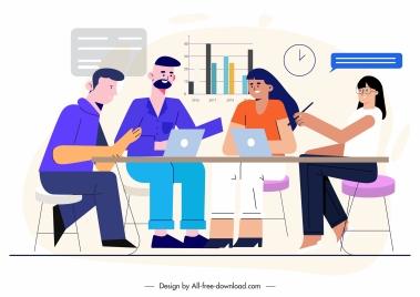office teamwork painting meeting staffs sketch cartoon characters