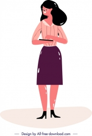 office woman icon colored cartoon character classical design