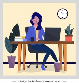 office work background lady sketch cartoon character