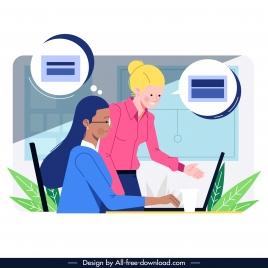 office work background staffs communication sketch cartoon design