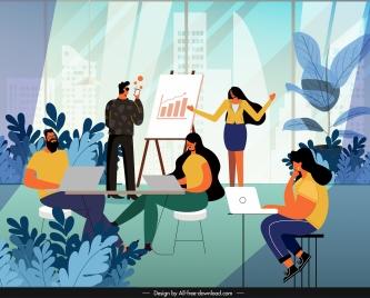 office work background working staffs colorful cartoon sketch