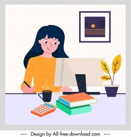 office work background young lady employee cartoon sketch