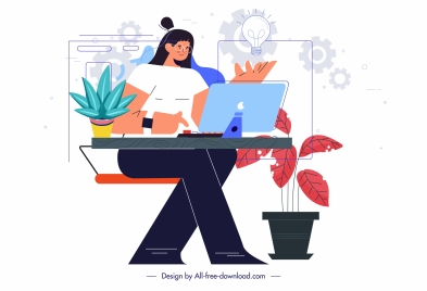office work painting woman desk business elements sketch