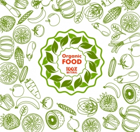 ogranic food collection hand drawn design in green