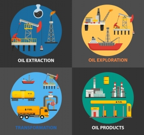 oil supply chain concept isolated with various processes